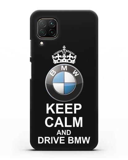 Чехол с надписью Keep Calm and Drive BMW силикон черный для Huawei P40 lite