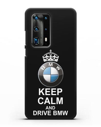 Чехол с надписью Keep Calm and Drive BMW силикон черный для Huawei P40 Pro
