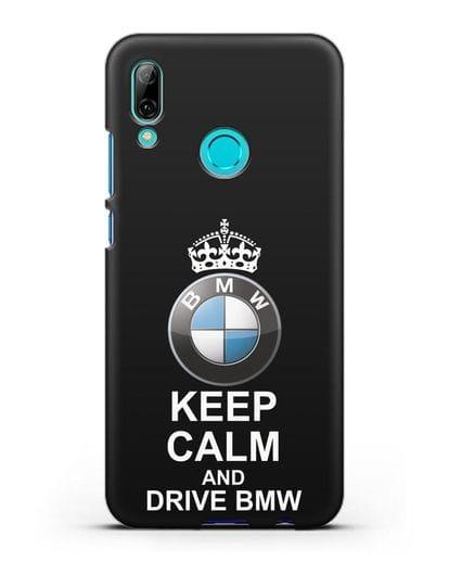 Чехол с надписью Keep Calm and Drive BMW силикон черный для Huawei P Smart 2019