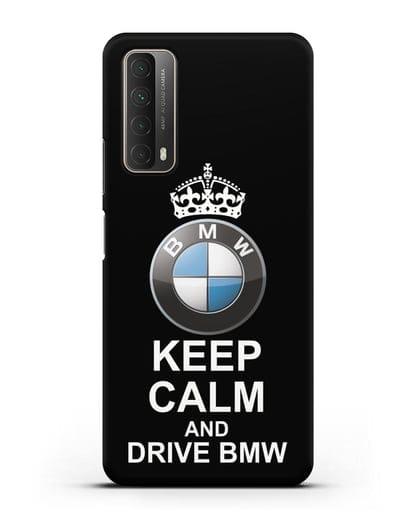 Чехол с надписью Keep Calm and Drive BMW силикон черный для Huawei P Smart 2021