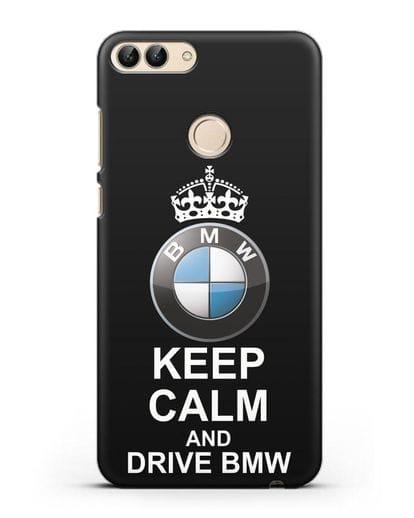 Чехол с надписью Keep Calm and Drive BMW силикон черный для Huawei P Smart