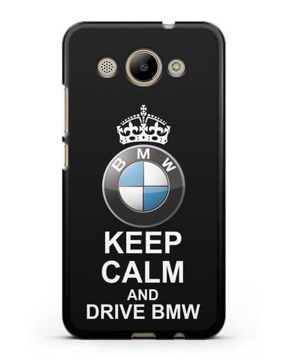 Чехол с надписью Keep Calm and Drive BMW силикон черный для Huawei Y3 2017