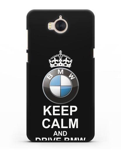 Чехол с надписью Keep Calm and Drive BMW силикон черный для Huawei Y5 2017