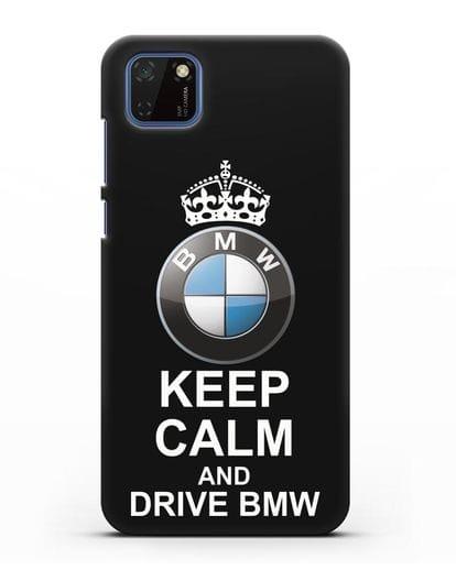 Чехол с надписью Keep Calm and Drive BMW силикон черный для Huawei Y5P