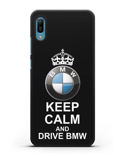 Чехол с надписью Keep Calm and Drive BMW силикон черный для Huawei Y6 2019