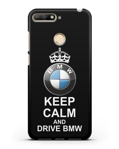 Чехол с надписью Keep Calm and Drive BMW силикон черный для Huawei Y6 Prime 2018