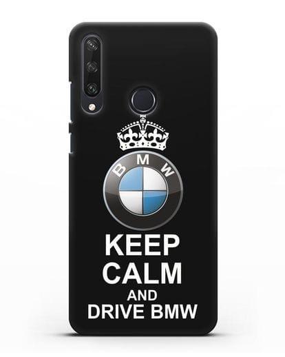 Чехол с надписью Keep Calm and Drive BMW силикон черный для Huawei Y6P
