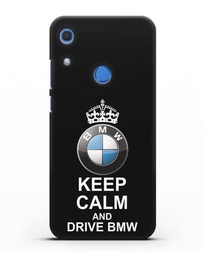 Чехол с надписью Keep Calm and Drive BMW силикон черный для Huawei Y6s