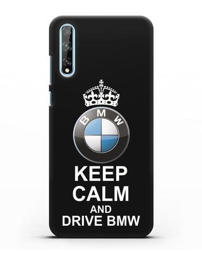 Чехол с надписью Keep Calm and Drive BMW силикон черный для Huawei Y8P