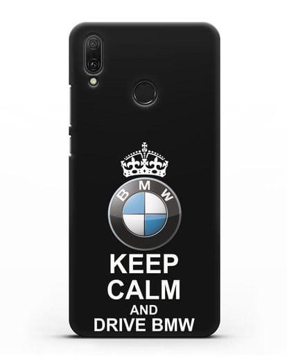 Чехол с надписью Keep Calm and Drive BMW силикон черный для Huawei Y9 2019
