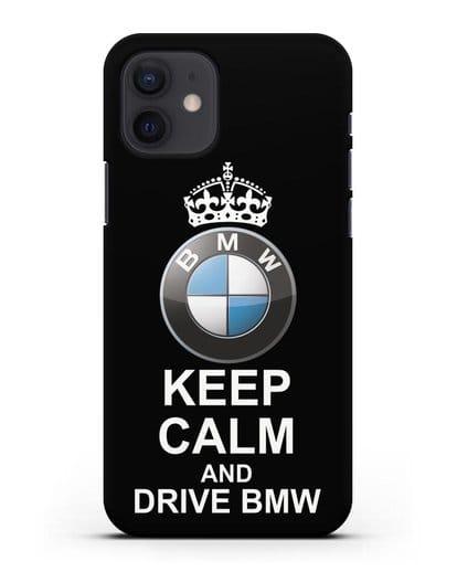 Чехол с надписью Keep Calm and Drive BMW силикон черный для iPhone 12