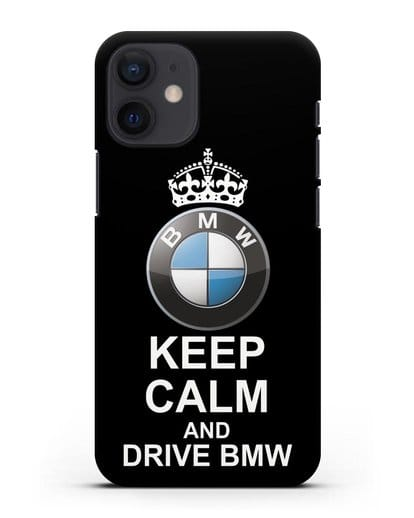 Чехол с надписью Keep Calm and Drive BMW силикон черный для iPhone 12 mini
