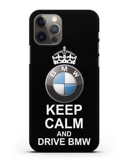 Чехол с надписью Keep Calm and Drive BMW силикон черный для iPhone 12 Pro