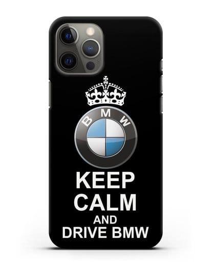 Чехол с надписью Keep Calm and Drive BMW силикон черный для iPhone 12 Pro Max