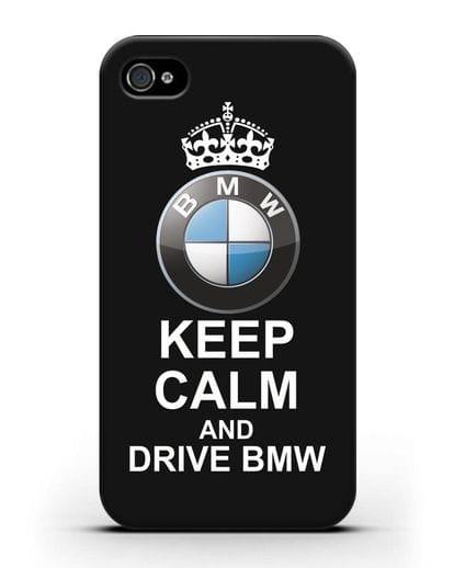 Чехол с надписью Keep Calm and Drive BMW силикон черный для iPhone 4/4s