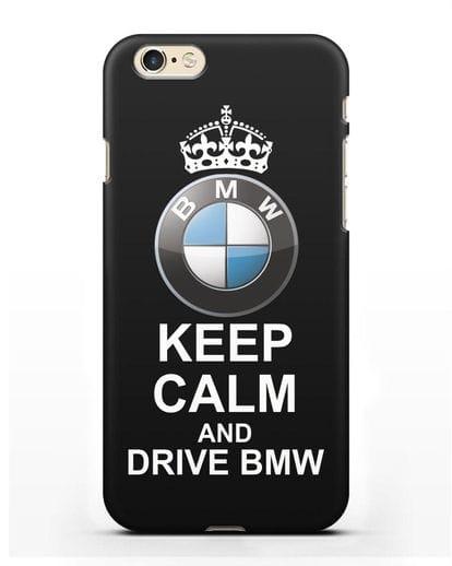 Чехол с надписью Keep Calm and Drive BMW силикон черный для iPhone 6