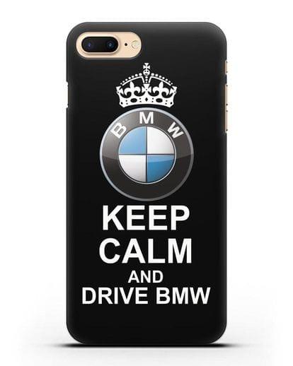 Чехол с надписью Keep Calm and Drive BMW силикон черный для iPhone 7 Plus
