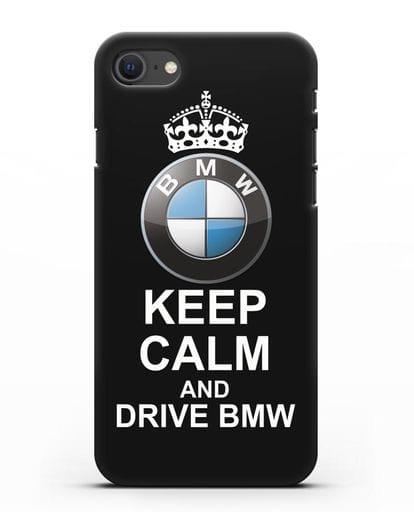 Чехол с надписью Keep Calm and Drive BMW силикон черный для iPhone SE 2020