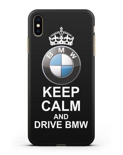 Чехол с надписью Keep Calm and Drive BMW силикон черный для iPhone XS Max