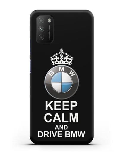 Чехол с надписью Keep Calm and Drive BMW силикон черный для Xiaomi Poco M3