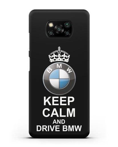 Чехол с надписью Keep Calm and Drive BMW силикон черный для Xiaomi Poco X3