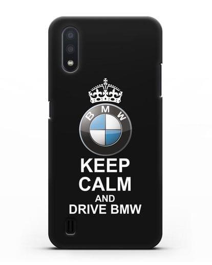 Чехол с надписью Keep Calm and Drive BMW силикон черный для Samsung Galaxy A01 [SM-A015F]