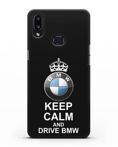 Чехол с надписью Keep Calm and Drive BMW силикон черный для Samsung Galaxy A10s [SM-F107F]