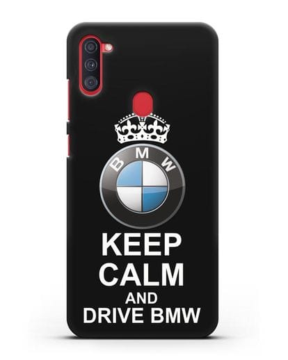 Чехол с надписью Keep Calm and Drive BMW силикон черный для Samsung Galaxy A11 [SM-A115F]