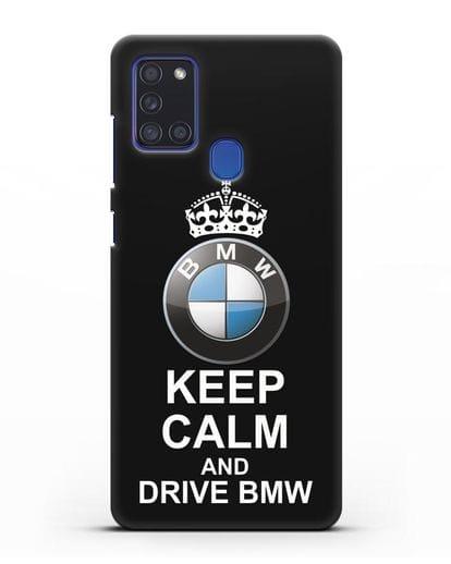 Чехол с надписью Keep Calm and Drive BMW силикон черный для Samsung Galaxy A21s [SM-A217F]