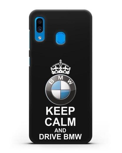 Чехол с надписью Keep Calm and Drive BMW силикон черный для Samsung Galaxy A30 [SM-A305FN]