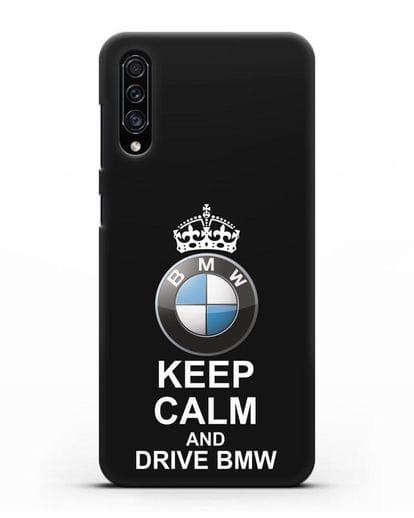 Чехол с надписью Keep Calm and Drive BMW силикон черный для Samsung Galaxy A30s [SM-A307FN]