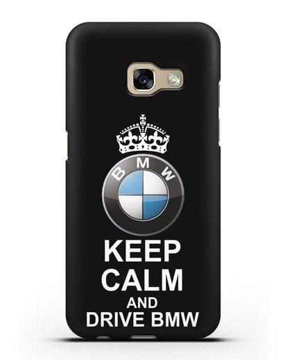 Чехол с надписью Keep Calm and Drive BMW силикон черный для Samsung Galaxy A3 2017 [SM-A320F]
