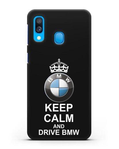 Чехол с надписью Keep Calm and Drive BMW силикон черный для Samsung Galaxy A40 [SM-A405F]