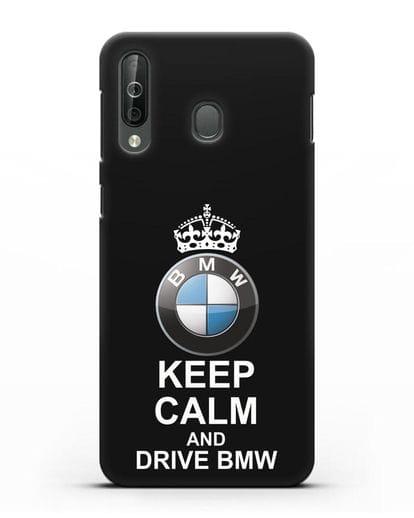 Чехол с надписью Keep Calm and Drive BMW силикон черный для Samsung Galaxy A40s [SM-A507FN]