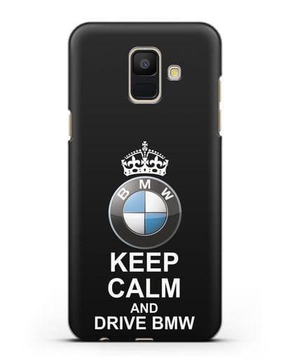 Чехол с надписью Keep Calm and Drive BMW силикон черный для Samsung Galaxy A6 2018 [SM-A600F]