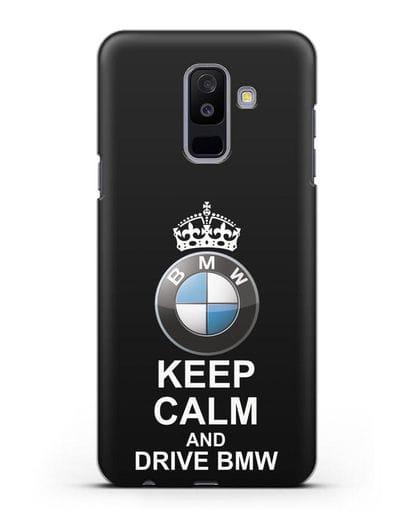 Чехол с надписью Keep Calm and Drive BMW силикон черный для Samsung Galaxy A6 Plus 2018 [SM-A605F]