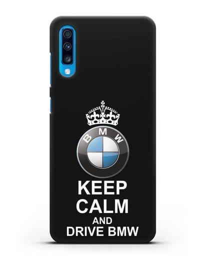 Чехол с надписью Keep Calm and Drive BMW силикон черный для Samsung Galaxy A70 [SM-A705F]