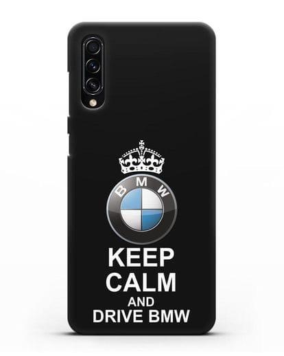 Чехол с надписью Keep Calm and Drive BMW силикон черный для Samsung Galaxy A70s [SM-A707F]