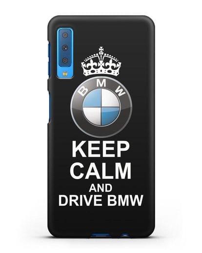 Чехол с надписью Keep Calm and Drive BMW силикон черный для Samsung Galaxy A7 2018 [SM-A750F]