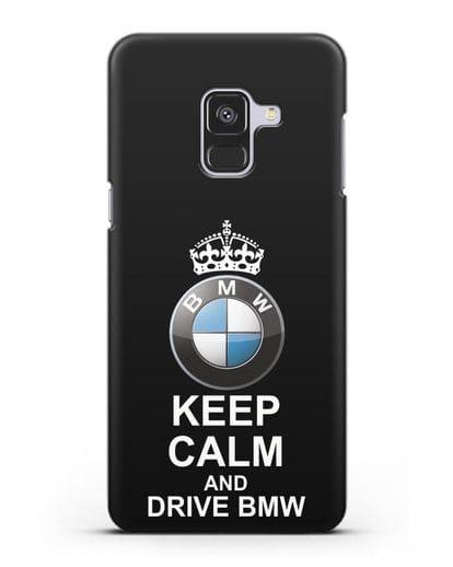 Чехол с надписью Keep Calm and Drive BMW силикон черный для Samsung Galaxy A8 Plus [SM-A730F]