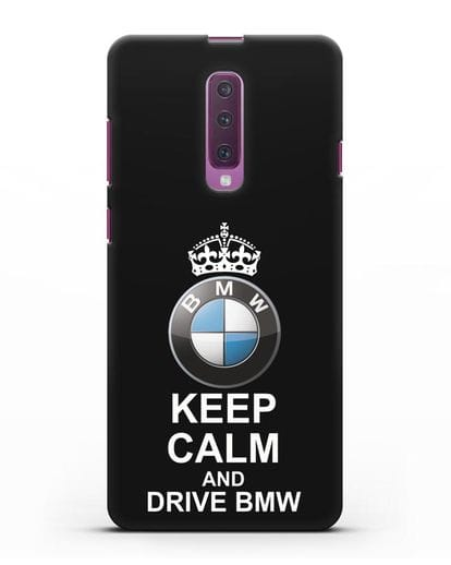 Чехол с надписью Keep Calm and Drive BMW силикон черный для Samsung Galaxy A90 [SM-A908N]
