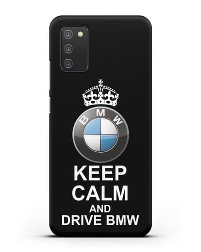 Чехол с надписью Keep Calm and Drive BMW силикон черный для Samsung Galaxy A02s [SM-A025F]