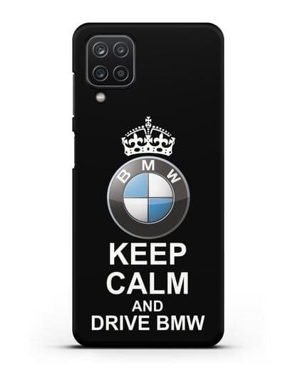 Чехол с надписью Keep Calm and Drive BMW силикон черный для Samsung Galaxy A12 [SM-A125F]