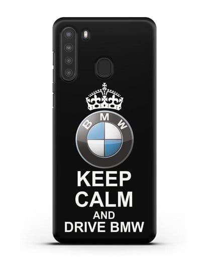 Чехол с надписью Keep Calm and Drive BMW силикон черный для Samsung Galaxy A21 [SM-A215]