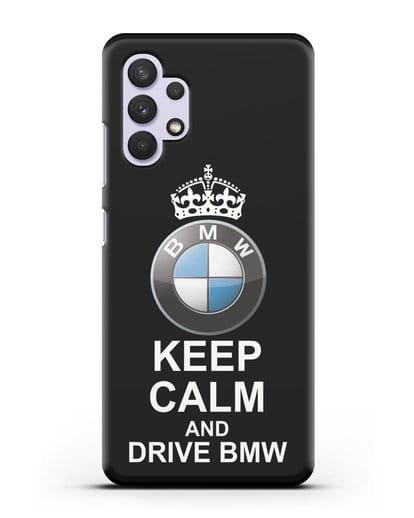 Чехол с надписью Keep Calm and Drive BMW силикон черный для Samsung Galaxy A32 4G [SM-A325F]