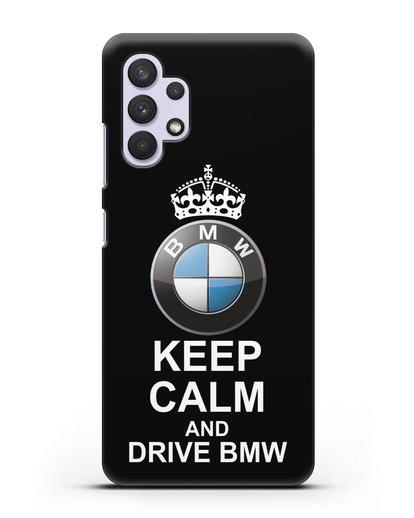 Чехол с надписью Keep Calm and Drive BMW силикон черный для Samsung Galaxy A32 5G [SM-A326B]