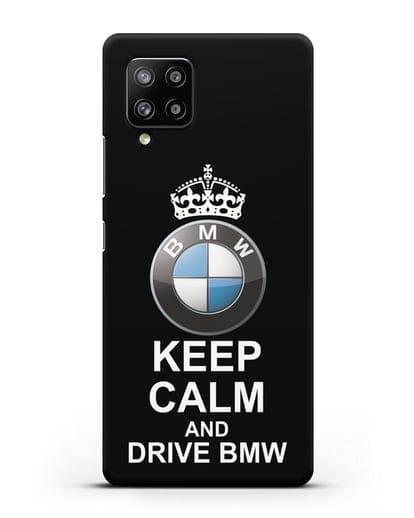 Чехол с надписью Keep Calm and Drive BMW силикон черный для Samsung Galaxy A42 [SM-A426B]