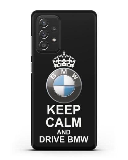 Чехол с надписью Keep Calm and Drive BMW силикон черный для Samsung Galaxy A52 5G [SM-A5260]