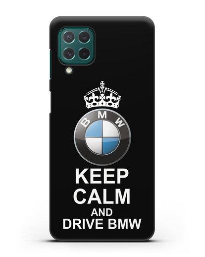 Чехол с надписью Keep Calm and Drive BMW силикон черный для Samsung Galaxy M62 [SM-M625F]