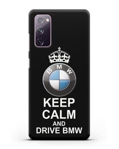 Чехол с надписью Keep Calm and Drive BMW силикон черный для Samsung Galaxy S20 FE [SM-G780F]